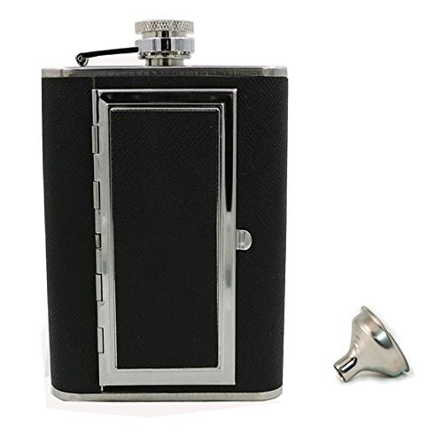 Flask Cigarette Holder - Glitterymall 6oz PU Leather Wrapped Stainless Steel Hip Flask Liquor Alcohol Bottle with Built-in Cigar Case Holder and Funnel Set