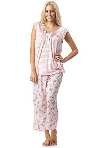 Casual Nights Women's Lace Sleeveless Top and Capri Bottom Sleepwear Pajama Set - Pink - 3X-Large