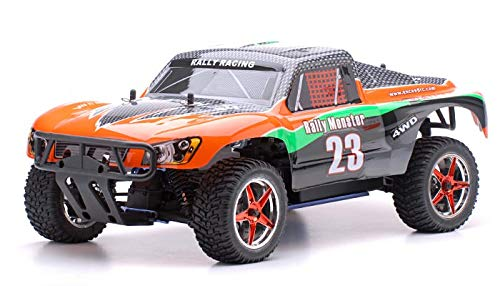 Exceed-RC 1/10 2.4Ghz Short Course Monster Nitro Gas Powered RTR Off Road 4WD Truck Carbon Orange ()