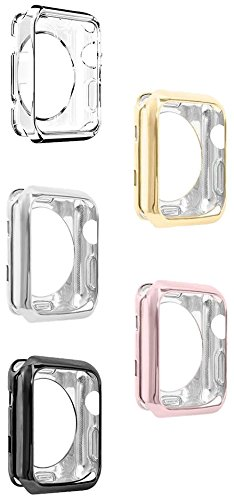 Apple Watch Case, UBOLE Scratch-Resistant Flexible Lightweight Plated TPU Full Body Protective Case for iWatch Series 3, Series 2, Series 1 (5PACK 42mm) by UBOLE