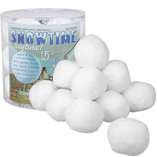 15 Pack Indoor Snowball Fight - Snowtime Anytime - Safe, No Mess, No Slush