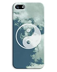 Ying Yang Clouds Blue Hipster Indie iPhone 5 5S Hard Case Cover hjbrhga1544
