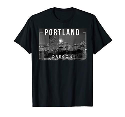 (Portland Oregon Rose City PDX Mount Hood Skyline - Tee )