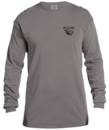 NCAA Oregon State Beavers Vintage Poster Comfort Color Long Sleeve T-Shirt, Medium,Grey
