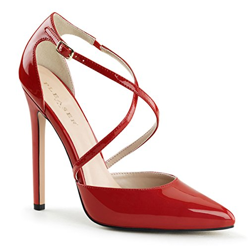 Womens Glossy Red Pumps Shoes with Criss Cross Straps and 5'' Single Sole Heels Size: (Criss Cross Platform Pump)