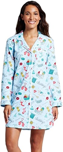 Women's Flannel Vintage Holiday Notch Collar Button Up Sleep Shirt (X-Small, Knitting/Alabaster Blue)