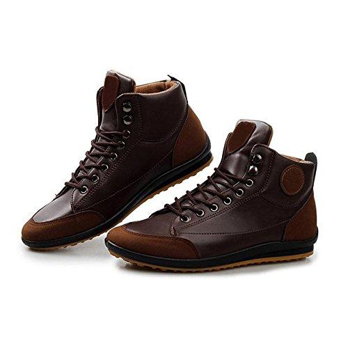Gleader Hombres ocasional invierno del Alto-top zapatos de terciopelo calidas botas impermeables Zapatillas Marron oscuro( Tamano: 39 )
