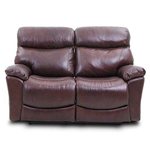 Sofa Recliner Loveseat Made of Top Grain Leather in Brown