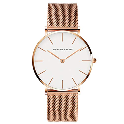 (Dovkumo Men's Ultra Thin Quartz Stainless Steel Mesh Band Watch (White Dial,Rose Gold-Tone Band 1))