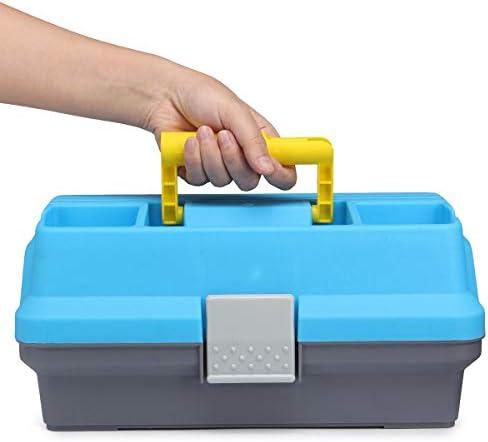 釣り用ボックスに取り組む ベイト釣り多機能釣りボックスポータブル3層は、収納ケースタックル (色 : 青, サイズ : 30x18x15cm)