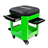 OEMTOOL 24993 Green Rolling Workshop Creeper Seat with 2 Tool Storage Drawers Under Seat Storage Can Holders