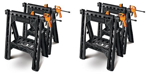 WORX Clamping Sawhorse Pair with Bar Clamps, Built-in Shelf and Cord Hooks – WX065 (2-(Pack))