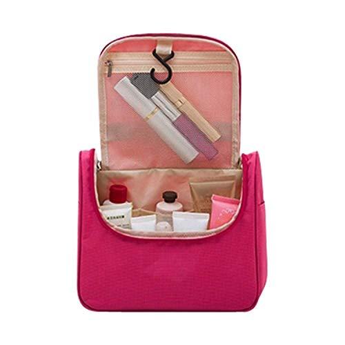 (Potelin Toiletry Bag Cosmetic Bag Travel Toiletry Bag Wash Bag Hanging Toiletry Bag Space Layout is Reasonable (Rose Red))