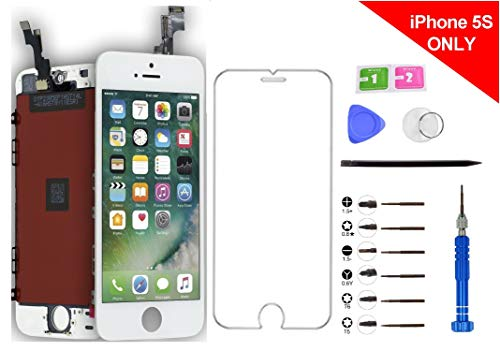 Turtlescreen RealTone Ultra Premium Quality Replacement Screen Repair Kit for iPhone 5S and SE, in-Cell Touch Digitizer IPS LCD Display Assembly - White