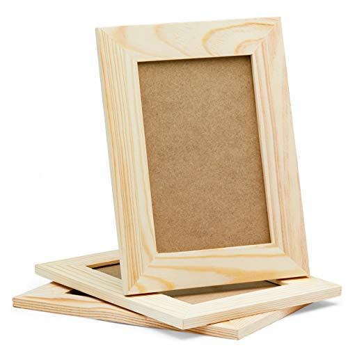 DIY Picture Frames, 4x6 Craft Frames Set, Unfinished Solid Pine Wood DIY Photo Frames, For Arts and Crafts DIY Painting Projects, Set of 3 (6x8 Frame Size Holds 6x4 Pictures) -