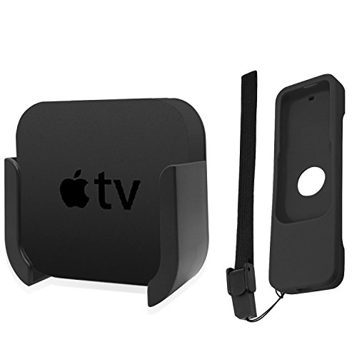 TV Mount for Apple TV 4th and 4K 5th Generation, SourceTon Wall Mount Bracket Holder for Apple TV 4th / 4K 5th Gen, BONUS Protective Case for Apple TV 4K / 4th Gen Siri Remote Controls