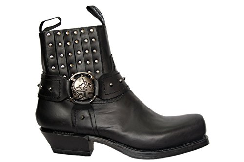NEWROCK New Rock 7959 BLACK PLAIN Leather West Steel Heel Ankle Shoes Cowboy boots 9GwO1P6MI