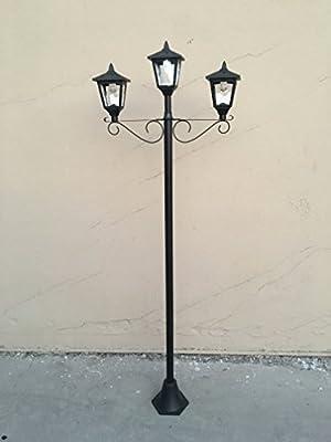"Kanstar 72"" Street Vintage Outdoor Triple Head Solar Powered Lamp Post Light Lawn - Adjustable"