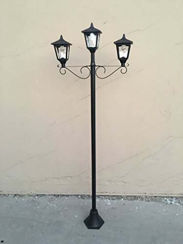 Pack of 2 72'' Street Vintage Outdoor Triple Head Solar Powered Lamp Post Light Lawn - Adjustable (2) by Kanstar