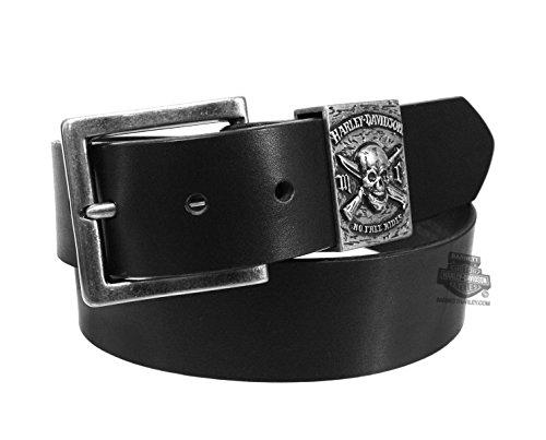 (Harley-Davidson Men's No Free Ride Skull Leather Belt, Black HDMBT10839-BLK)