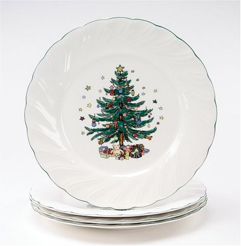 Nikko Ceramics Happy Holidays Dinner Plates, Set of 4