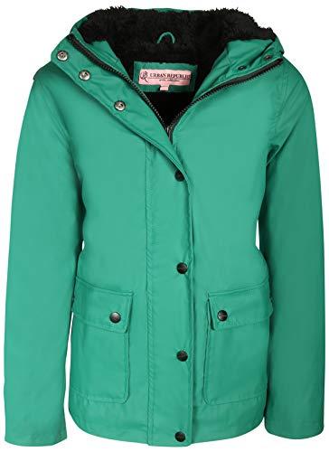 Urban Republic Girls Hooded Rain Jacket with Fur Lining, Pine Green, Size ()