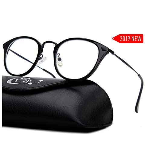 CGID 2019 New Style Fashion Blue Light Blocking Glasses Anti Glare Fatigue Safety Computer Glasses with Premium TR90 Black Metal Frame Transparent Lens ()