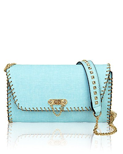 Bag Sky Strap Blue Chain Handbag Elegant Women's Long Black Shoulder Redfox Slim Trim Small zqwn6H