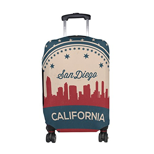 Bedding Set Diego - Vintage American Flag California State San Diego Skyline Luggage Cover Travel Suitcase Protector Fits 18-21 Inch Luggage