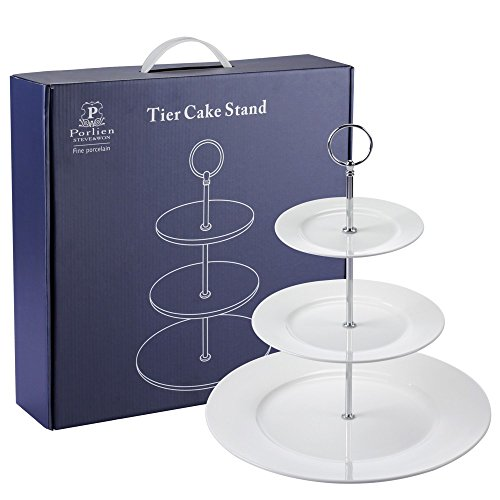Porlien 3 Tier Cake Stand/Cupcake Stand for Desserts, White, Round, Portable Blue Gift (Afternoon Tea Plate)