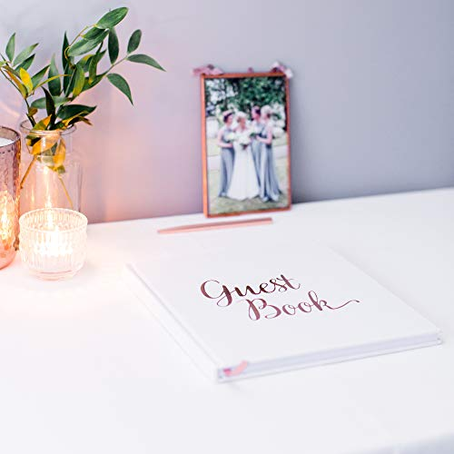 [New] Blank Wedding Guest Book Guestbook Rose Gold & White Paper with NO Lines - Registry Books - Rosegold Foil Stamping and 180GSM Paper 32 Pages 64 Sides Square Photo #7