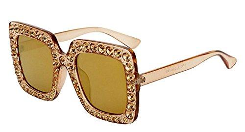 My Shades - Designer Inspired Oversize Square Frame Transparent Sunglasses Jewel Toned Colors Embellishments (Brown Light, Smoke Brown) (Frame Bronze Transparent)
