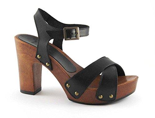 Locura divina 911 sandalia de tacón negro pezuña mesetas Nero