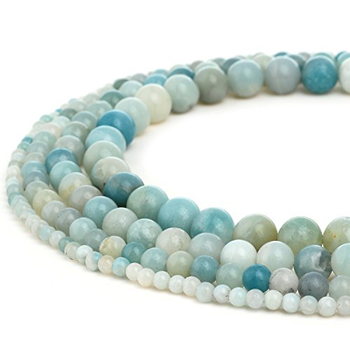 - RUBYCA Wholesale Natural Amazonite Gemstone Round Loose Beads for DIY Jewelry Making 1 Strand - 10mm