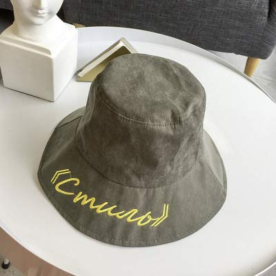 Military Cover Letter - Hats Home Hat Female Japanese Literary Versatile Big Personality Letter Basin Cap Student Cover face Fisherman hat Sun Visor Tide (Color : Army Green)