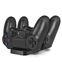 PS4 Charging Station - Dual USB Charger Dock Station Cradle Stand Base for Sony Playstation 4 PS4 Dual Shock Wireless Controller with USB Cable [Playstation 4]