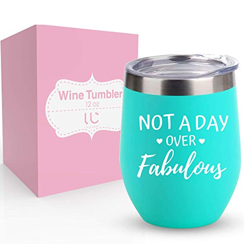 Not A Day Over Fabulous | Stainless Steel 12 oz Wine Tumbler with Lid | Birthday Gifts for Women & Wine Lovers | Double Insulated Stemless Tumbler (Light Blue)