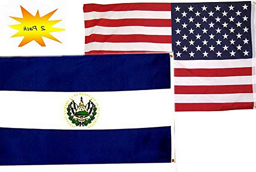 Mikash 3x5 3вЂx5†Wholesale Set (2 Pack) USA American El Salvador Country Flag Banner | Model FLG - - Set Coin Iowa
