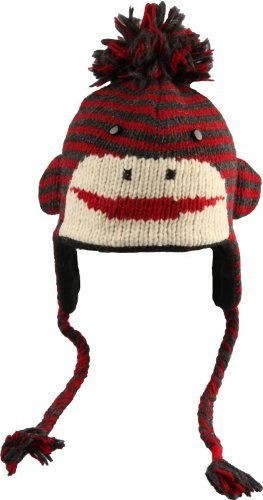 Youth/Adult Red/Charcoal Cute Stripe Sock Monkey Pilot Hat by Knitwits - A1329RC