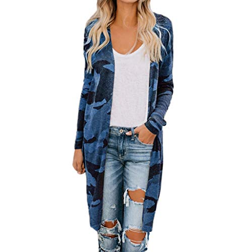 Coat for Womens, FORUU Lightweight Coat Fashion Sexy Long Sleeves Leisure Camo Print V-Neck 2019 New Soft Comfy Maxi Long Lovely Elegant Cardigan Coat Open Front Roomy Loose Longline Duster Coat