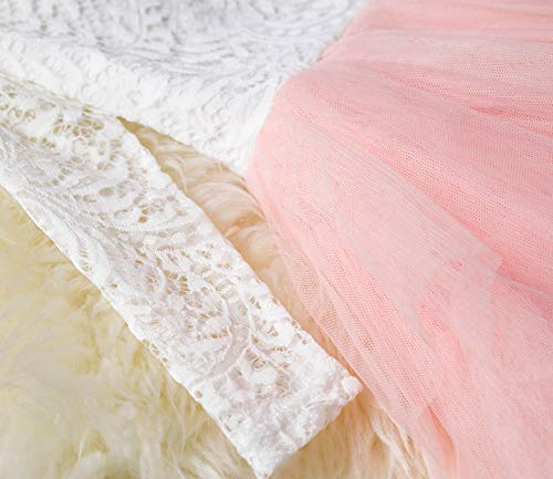 NNJXD Backless Lace Back Tutu Tulle Princess Party Dress Flower Girls Dresses Size (120) 4-5 Years Pink by NNJXD (Image #4)