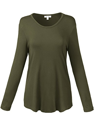 Loose Fit Comfortable Round Neck Solid Color Shirt Tops