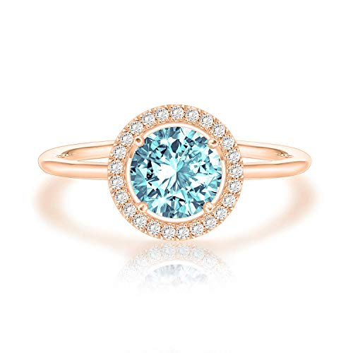 PAVOI 14K Rose Gold Plated Swarovski Crystal Birthstone Ring - Adjustable Stackable Ring March