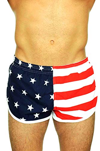 UZZI Men's Running Shorts Swimwear Trunks 1830, American Flag, ()