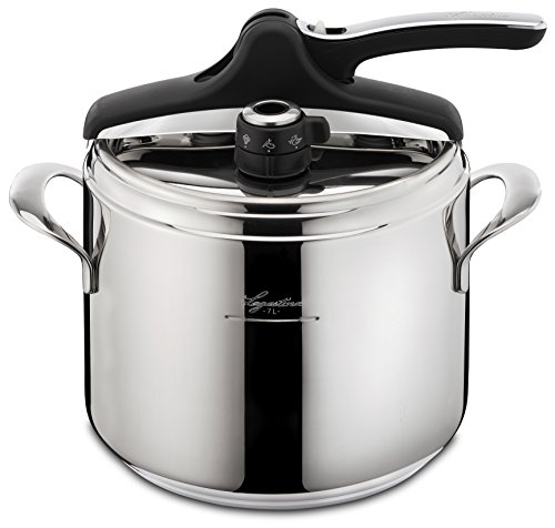 Lagostina Q5510664 Domina Vitamin Polished Stainless Steel Induction Safe 6 / 10-PSI Pressure Cooker Cookware, 7.4-Quart, Silver by Lagostina