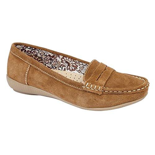 Boulevard - Zapatos casuales mocasines de ante para mujer Marrón tostado