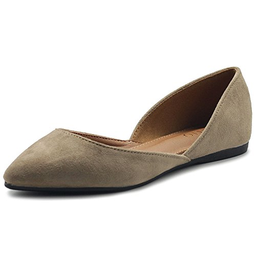 Ollio Womens Shoe Faux Suede Slip On Comfort Light Pointed Toe Ballet Flats ZM1710F (8 B(M) US, Beige)