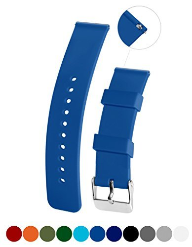 Silicone Watchband Strap,Quick Release,Soft Rubber Surface with Textured Non-slip Back, Waterproof & Washable, Light Blue (Soft Surface Washable)