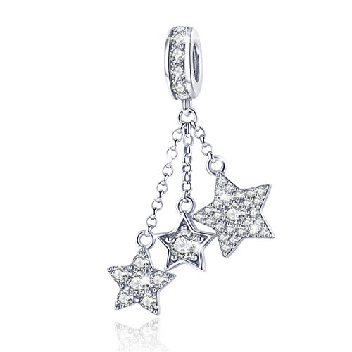 BAMOER 925 Sterling Silver Star Charms Beads Fit Snake Chain Bracelet Necklace