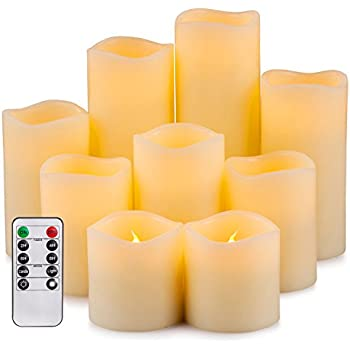 """Enpornk Flameless Candles LED Pillar Battery Operated Candles with Remote Timer Ivory Color Set of 9 (D 3"""" x H 3""""/3""""/4""""/4""""/5""""/5""""/6""""/7""""/8"""") YT-00201"""